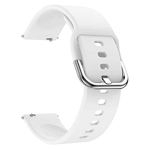 EWENYS Correa de repuesto para deportiva silicona suave de smartwatch, Compatibile con Samsung Galaxy Watch Active 2 40mm 44mm   Garmin vivoactive 3   Amazfit GTS GTR 42mm (20mm, Blanco)