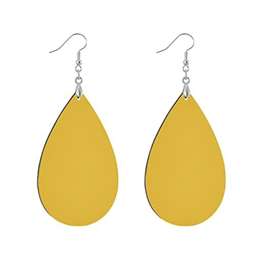Pendientes de madera de moda gota colgantes ligeros lágrima pendientes forma gota pendiente para las mujeres joyería amarillo sólido mostaza