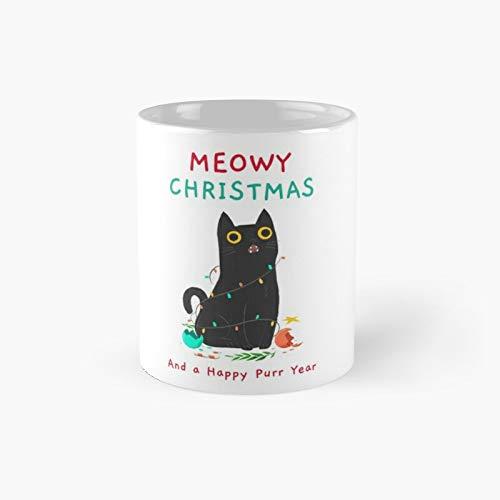 Taza clásica con diseño de gato feliz Navidad y año nuevo | El mejor regalo divertidas tazas de café de 325 ml