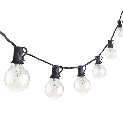 G40 15 m Kugel-Lichterkette mit 50 klaren Globus-Glühbirnen (5 Extra), Lichterkette für den Außenbereich, Garten, Hochzeiten, Zelte, Weihnachten, Innen-Balkon-Deko-Lichter
