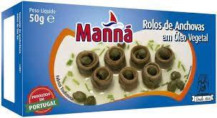 Manná, Rulos de Anchovas en Aceite Vegetal, 50g