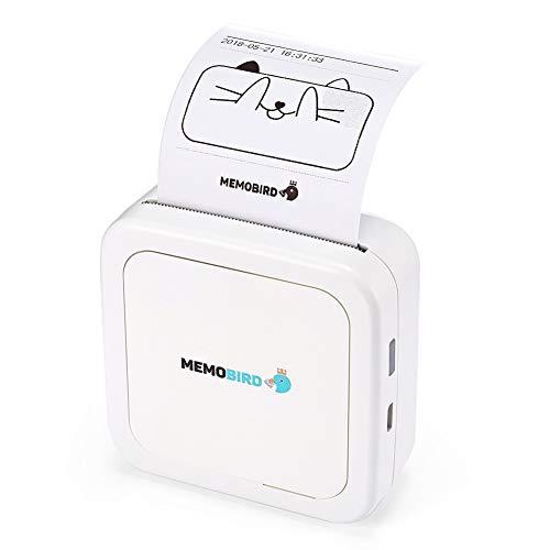 Mini-fotoprinter, Bluetooth 4.0, compatibel met iPhone, Android, draagbaar, iPad, Mac, Mallalah, draadloos, mobiel, direct, Android, iOS, cadeau voor babyvriendin Wit.