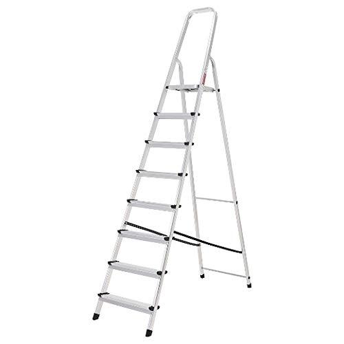 ORYX 23010010 Escalera Aluminio 8 Peldaños Plegable, Uso doméstico, Antideslizante, Ligera y Resistente