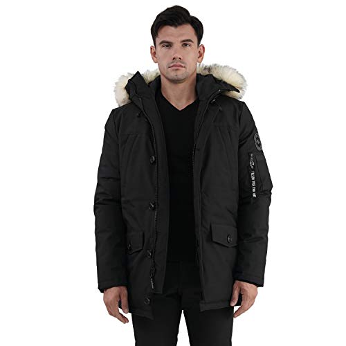 PUREMSX Men's Winter Casual Jacket Down Alternative Thickened Lined Fur Hooded Long Anorak Parka Padded Coat,Black,Medium