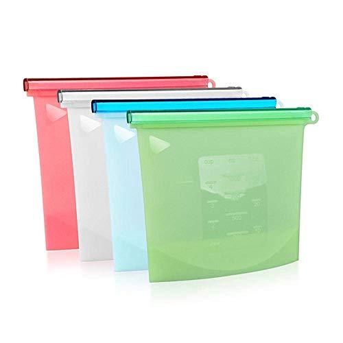 Riutilizzabile in silicone alimentare sacchetti di immagazzinaggio confezione da 4 a chiusura lampo a perfetta tenuta di conservazione di alimento Borse Set BPA snack in omaggio sacchetti pranzo Borse