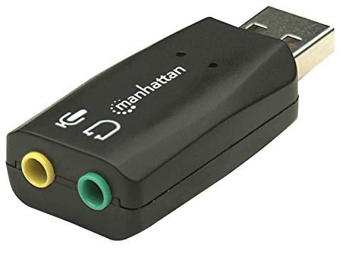 Manhattan 150859 Hi-Speed USB 3D Sound Adapter (Verbessert Audiozugriff und -Performance) schwarz