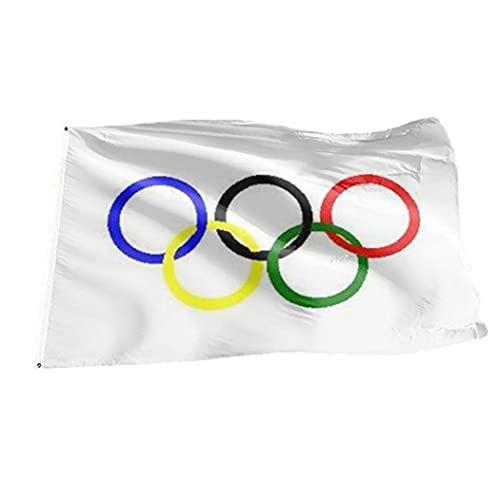 Bandera de Juegos Olímpicos, Juegos Olímpicos Bandera Poliéster Cinco Anillos Equipo Olímpico Banner para Graden Wall Decor 90x150cm