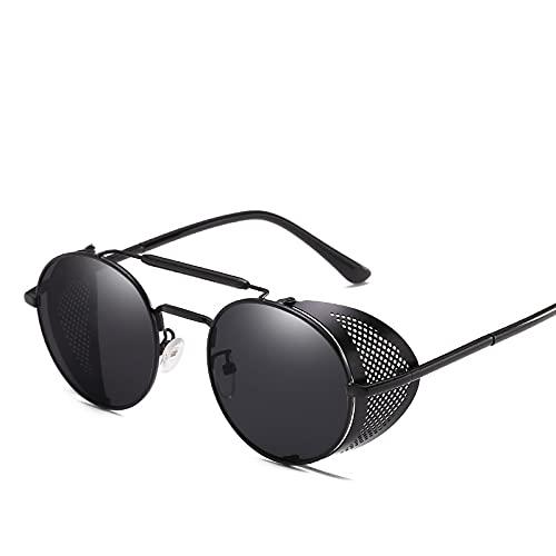 YOUMIYH Personalidad Retro Gafas de Sol Marco Estado Parabrisas Color Redondo Película Reflectante Fresco Lente Reflectante UV400 Protección (Color : B, Size : 1)
