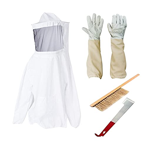 Imkerei-Anzug, 4-teiliger Gesamtschutz Imker-Schutzschleieranzug Inklusive Bienenzucht-Anzugjacke und -Handschuhe, Bienenstockbürste, J-Schaber für Backyard Professional und Anfänger-Imker