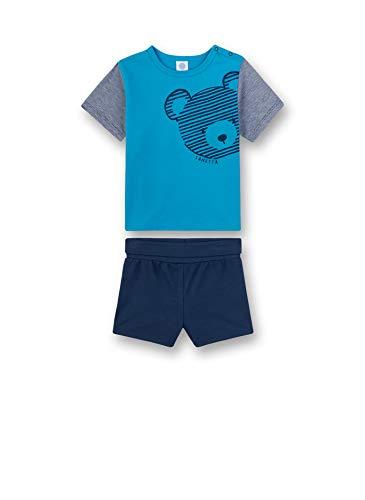 Sanetta Baby-Jungen Pyjama kurz Zweiteiliger Schlafanzug, Türkis (türkis 5641), 98 (Herstellergröße:098)