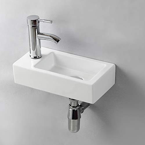 Gimify Lavabo Pequeño Pared Mini Lavamanos Baño Cerámico Blanco 37x18.5x9cm, Izquierda