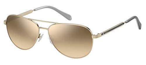 Fossil Women's FOS3065s Aviator Sunglasses, MATTEGOLD, 58 mm