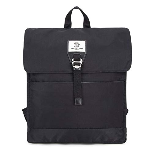 SEVENTEEN LONDON – Modern Black 'Ilford' Fold Top Bookbag Backpack in a Slim Design – Fits Laptops up to 13'