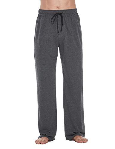 CYZ Comfortable Jersey Cotton Knit Pajama Lounge Sleep Pants -Charcoal-L
