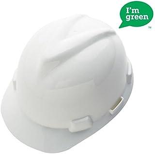 MSA Safety 10150199 Green High-Density Polyethylene V-Gard Cap with 4 Point Fas Trac III Ratchet Suspension White