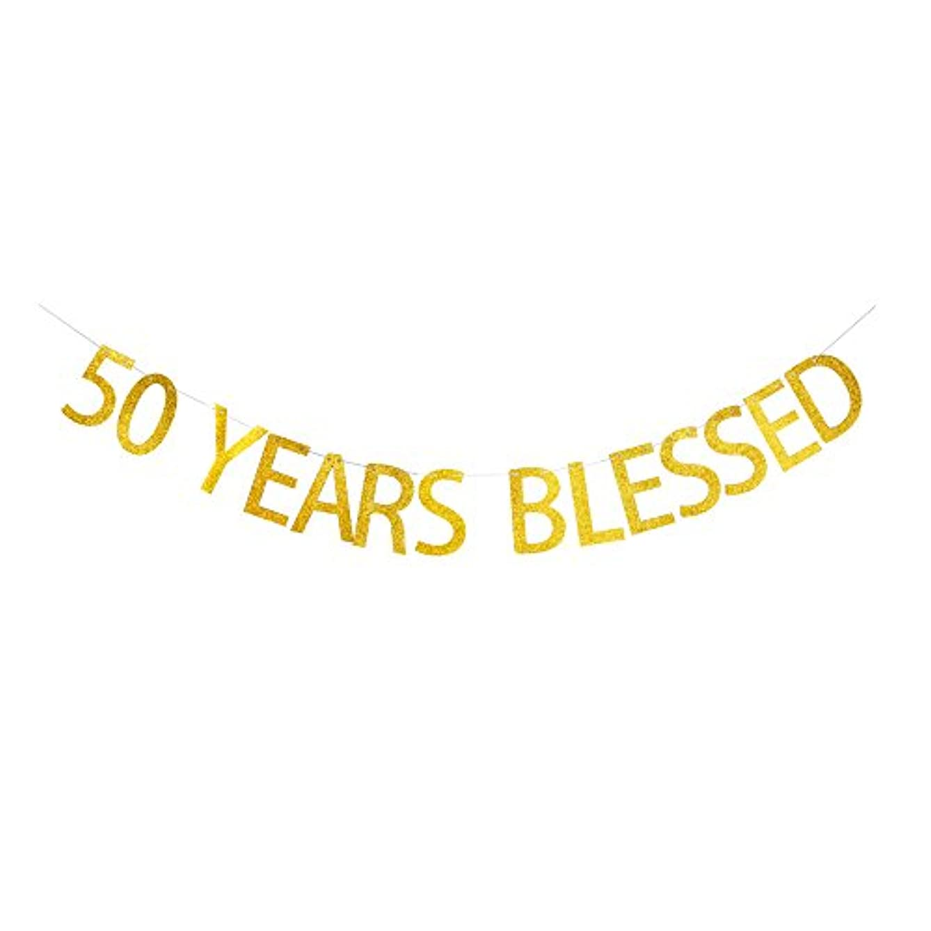 50 Years Blessed Banner Gold Gliter Paper Sign for 50th Birthday/Wedding Anniversary Party Decorations v441053619786774