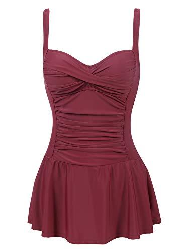 Amorbella Damen-Badeanzug, Einteiler, Bauchkontrolle, schlankmachend, Retro-/Vintage-Bademode Gr. 56, weinrot