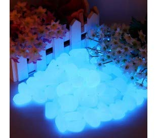 MEDIA WAVE store Pack de 200 Pierres Lumineuses fluorescentes décoratives Glow in The Dark - Bleu