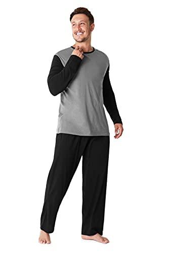 Pijama Hombre Invierno Sudadera Gimnasio 100% Algodón Mangas Largas Set Suave Cómodo Ropa de Dormir (Bota Pierna Corte Gris Carbón, L)