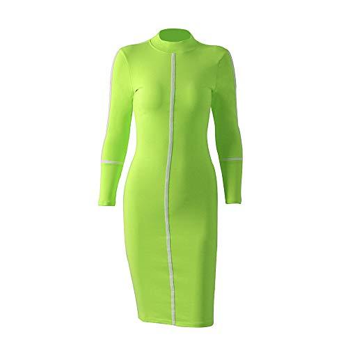 ZBBQZ midi-jurk met lange mouwen en bezet voor dames