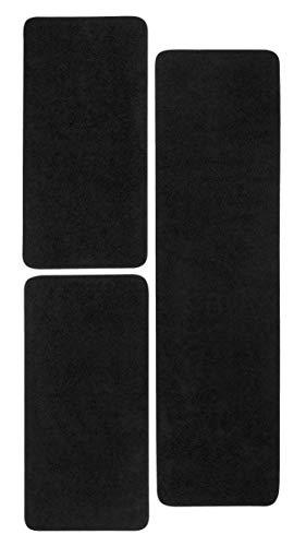 misento Shaggy Hochflor Teppich für Wohnzimmer Langflor, schadstoff geprüft 100 % Polypropylen,  schwarz Bettumrandung: 1x 67 x 250cm 2x 67 x 140 cm