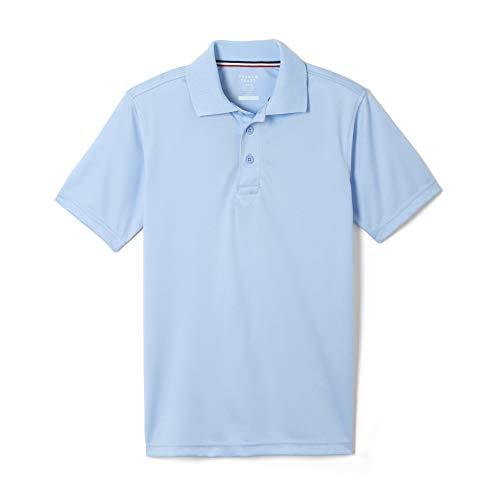 French Toast Boys' Big Short Sleeve Moisture Wicking Stretch Sport Polo Shirt, Light Blue, 10-12