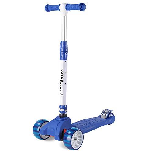 streakboard Kinderroller Mini-Scooter, Dreirad mit Verstellbarem Lenker Kinderroller mit PU LED Blinken für Kinder 3-10 Jahren, bis 50kg Belastbar (Dunkelblau)