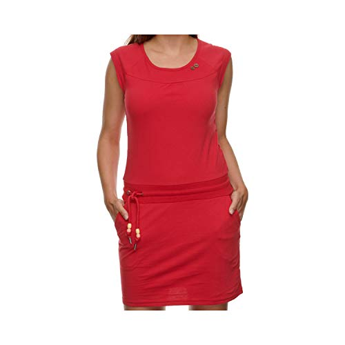 Ragwear Damen Penelope Kurzarmkleid, Frauen Kleid,Freizeitkleid,Sommerkleid,Shirtkleid,Kurzarm,Gummizug an der Taille,Regular Fit,Rot,XL