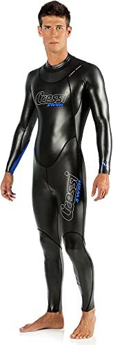 Cressi Triton Man All In One Swim Wetsuit 1.5mm Traje de Natación de una Pieza en Neopreno Glid Skin de 1.5 mm, Men's, Negro/Azul, XXL