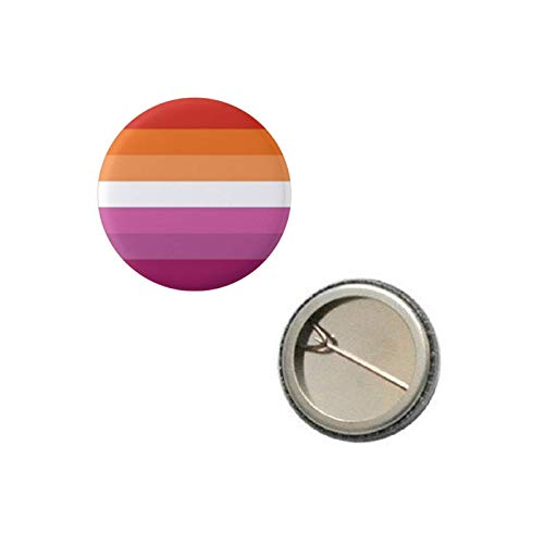 """Lesbian with Orange Pride Flag Pin 1"""" Round Circle Shape Metal Button Pin Badge Pinback 1 inch Pin 25 mm 2.5 cm"""