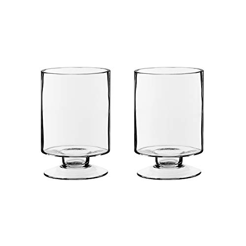 CYS EXCEL Glass Hurricane Pillar Candle Holders (H:6' W:3.75', 2 PCS) | Multiple Size Choices Short Stem Candle Jars | Stemmed Glass Cylinder Candle Vase