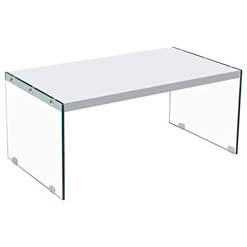 Best Master Hingham Rectangular Clear Glass Legs Coffee Table in White