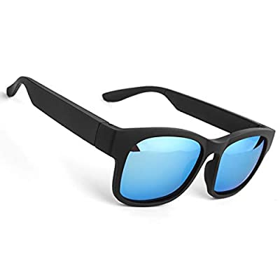 Smart Glasses Wireless Bluetooth Sunglasses Open Ear Music&Hands-Free Calling,for Men&Women,Polarized Lenses,IP4 Waterproof,Connect Mobile Phones and Tablets (Blue)