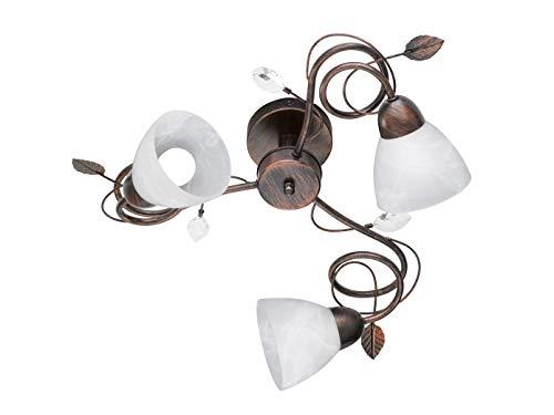 3 flammige Deckenleuchte mit dimmbaren LEDs & Blätter Design im Antik Look Rost