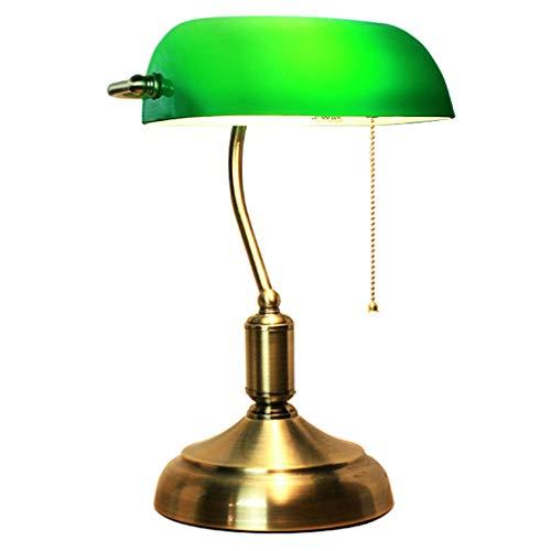 MIVPD Bankerlampe grün, mit verziertem Messingbasis Optik Retro grüne Schreibtisch Lampe Lampenschirm aus Glas Zugschalter [Energieklasse A++]