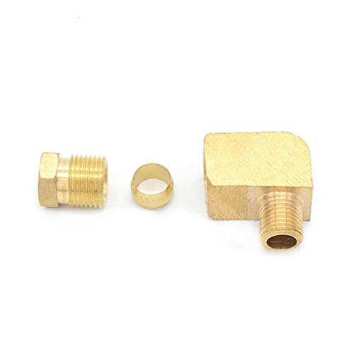 MDD Brass Pipe Fitting 4 6 8mm OD Tube Compression Ferrule Tube Compression Fitting Connector Adapter (Size : 1/4')