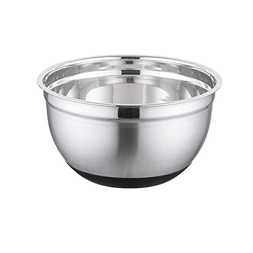 Stainles Steel Mixing Bowl Egg Mixer Salad Mixer Bowl Non-slip Silicone Bottom Food Storage Bowl Home Kitchen Salad Cooking Tool (Color : Silver, Diameter : 22cm)