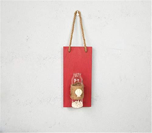 DSFGS Decoración De Pared De Madera Florero Hidropónico Colgante De Pared Sala Creativa Colgante De Pared De Madera@Rojo Decoración