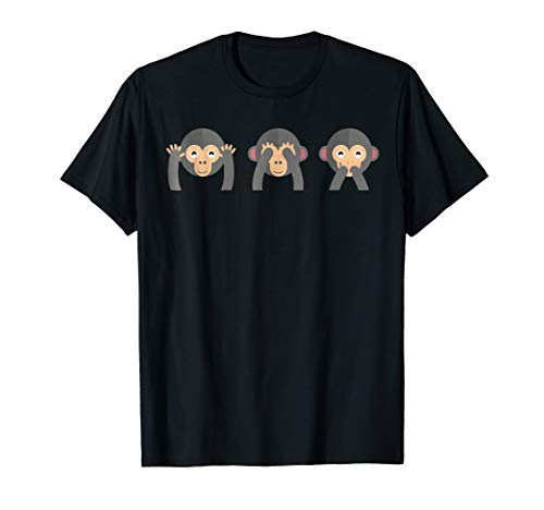 Cute Monkey Smiley Faces Tshirt Hear, See Do No Evil
