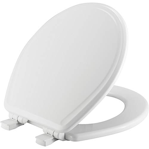 CHURCH 685E3 000 Toilet Seat will Slow Close and Never Come Loose, ELONGATED, Durable Enameled Wood, White