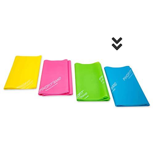 PINOFIT Fitnessbänder - Widerstandsbänder einzeln oder im Set - Stretch Band - Gymnastikband 2m in Profiqualität - Verschiedene Stärken - aus Naturlatex (Azure (Extra stark))