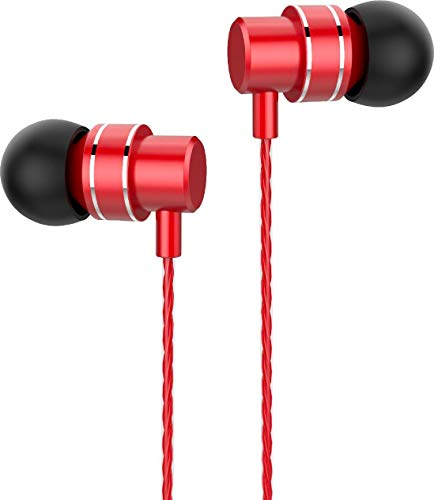 Lenovo Audio HF118 - Wired In-Ear Headphones - 3.5mm Connector With Microphone - Red