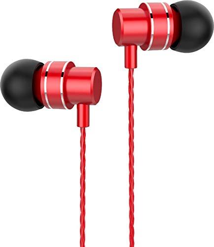 Lenovo HF118 - Auriculares In Ear con Cable y Micrófono, Conector para Auriculares de 3,5 mm - Rojo