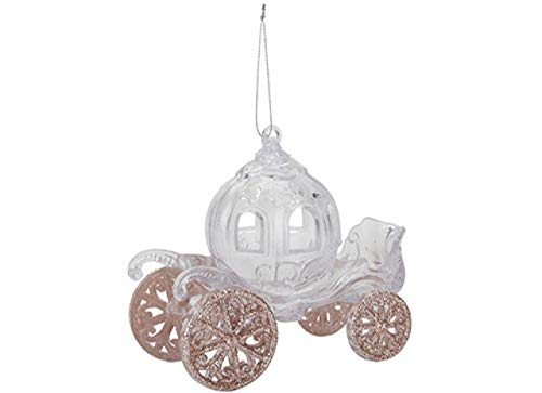Fairy tale Princess Carriage for your Christmas Tree, Glass look Acrylic Hanging Decoration Carriage with Glitter Detail in Blue, Rose gold, Champagne or Silver (Rose)