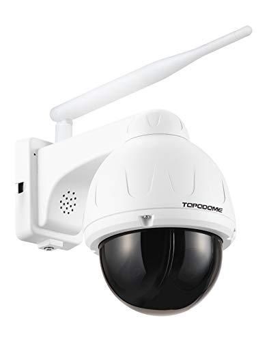 TOPODOME - Cámara de seguridad IP exterior con LED IR invisible, PT inalámbrico 5MP, tarjeta SD 32G en el interior, compatible con Onvivo/RTSP / Detección humanoida/Audio bidireccional