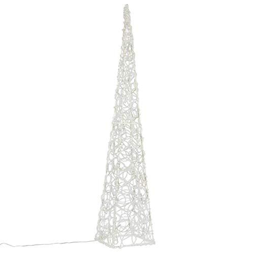 LED Pyramide Lichterkegel – Beleuchtung für Weihnachten innen außen – Acryl-Figur mit Trafo IP44 Timer – 60 Leuchten weiß 90 cm hoch Xmas