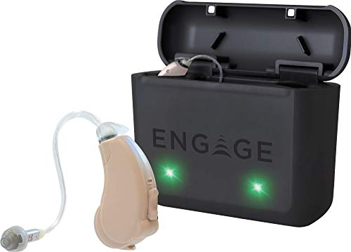 Engage: Enlite Hearing Aid Pair with Rechargeable Case and Accessories - Compatible with iPhone, Lucid Hearing APP, and Bluetooth - Splashproof - Discrete - Engineered and Designed in The USA (Beige)