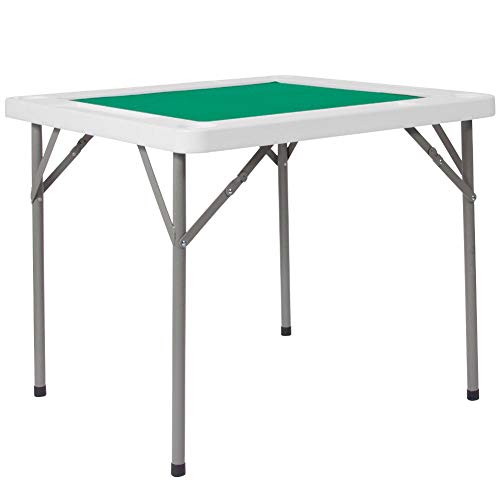 Flash Furniture 34.5'' Square Granite White Folding Game Table with Green Playing Surface