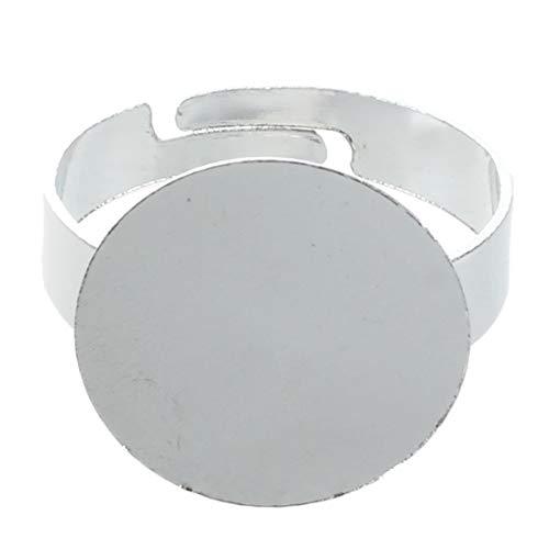 SODIAL(R) 10 X Base de Anillo Ajustable Redondo Metal DIY 16 mm