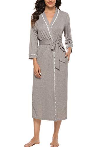 Vlazom Damen Morgenmantel V-Ausschnitt Bademantel Weich Kimono Nachtwäsche mit Taschen und Gürtel Saunamantel Schlafanzug(L,Stil B-Grau)